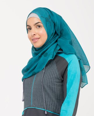 Teal Doubles - Teal Mönstrad Normal & Maxi Hijab