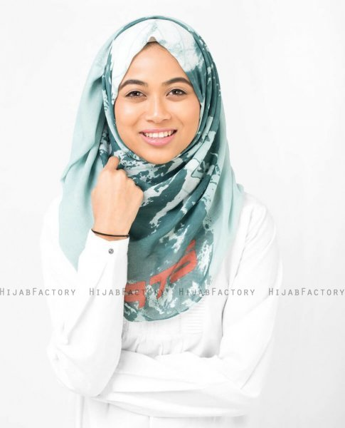 Aqua Abstract Print Viscose Hijab - Silk Route 5A404a